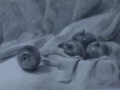 我的作品~素描:蘋果/炭筆素描/8K