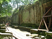 吳哥窟之旅(2005.09.21):行走於巨大的斷垣殘壁之中 身旁古木參天