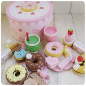 Mother garde:mother garden 兒童過家家木制玩具 草莓甜甜圈派對組1.jpg