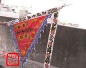 三角旗、四角旗、五方旗、令旗、龍虎旗、督陣旗(宜蘭神佛繡莊):平繡黑絨貼字三角旗1